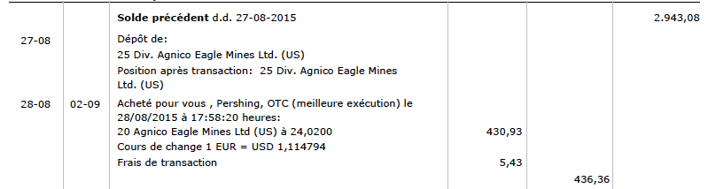 Transaction bis Agnico Eagle Mines