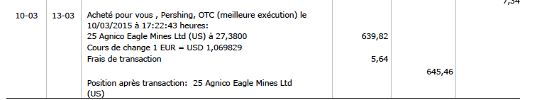Transaction achat Agnico Eagle Mines